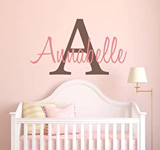 Girls Custom Name and Initial Wall Decal Sticker, 20