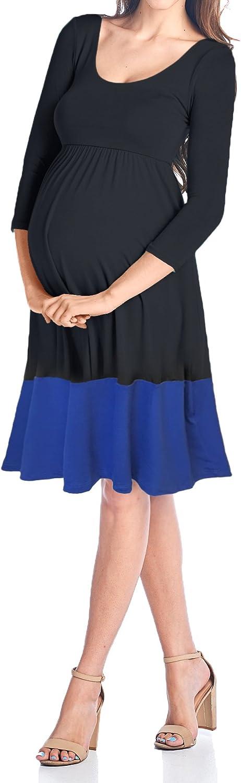 Beachcoco Women's Maternity Contrast color Knee Length Dress