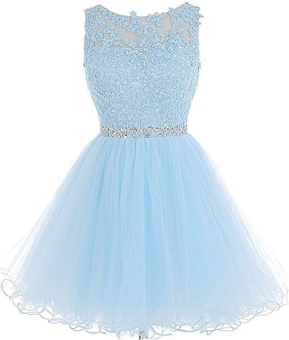 chu gu Womens A Line Tulle Juniors Short Prom Party Dress