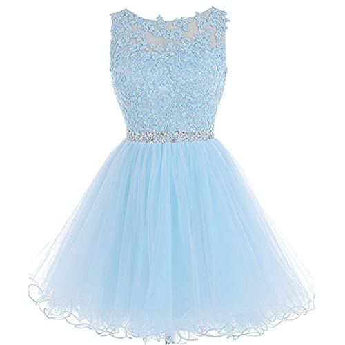 52c29ddbf6b Dydsz Women s Short Prom Dress Homecoming Dresses Beaded Appliques Party  Cocktail Gown D126