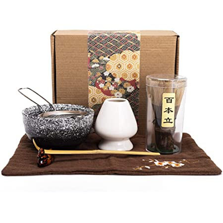 Bamboo Matcha Tea Whisk Set (Chasen) Matcha Bowl (Chawan) Bamboo Scoop (Chashaku) Ceramic Whisk Holder Handmade Matcha Ceremony Starter Kit For Traditional Japanese Tea Ceremony (7 Pcs).