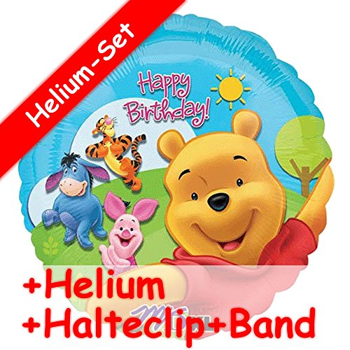 Folienballon Set * WINNIE THE POOH * + HELIUM FÜLLUNG + HALTE CLIP + BAND * für Kindergeburtstag und Motto-Party // Kinder Geburtstag Folien Ballon Helium Deko Ballongas Motto Winnie the Pooh