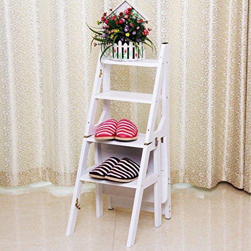 Accueil Chaise Pliant En Bois Massif Escalier Multi-fonctionnel Intérieur Escalade Échelle Quatre-étape Échelle 46 * 37 * 90 cm (Couleur : Blanc)