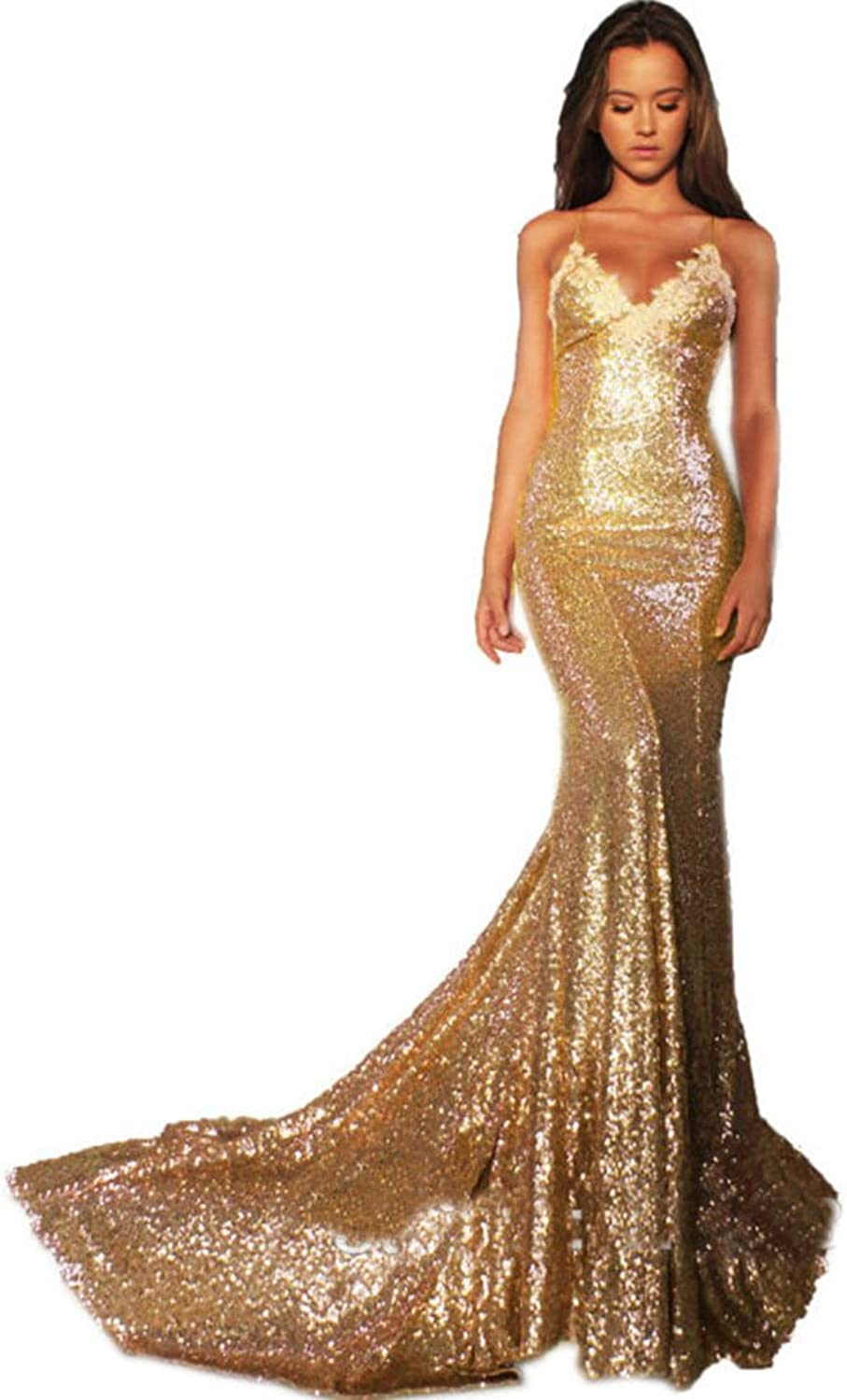 Siaoryne Sexy Spaghetti Straps Sequins Prom Dress Foral Evening Gowns Long