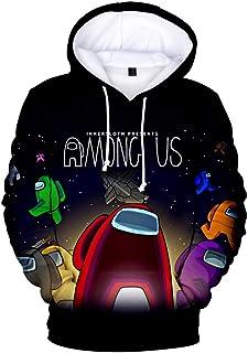 MINIDORA Among Us Sudadera con Capucha 3D Imprimió Hoodies Hombres Casual Manga Larga Juego Pullover Sweatshirt