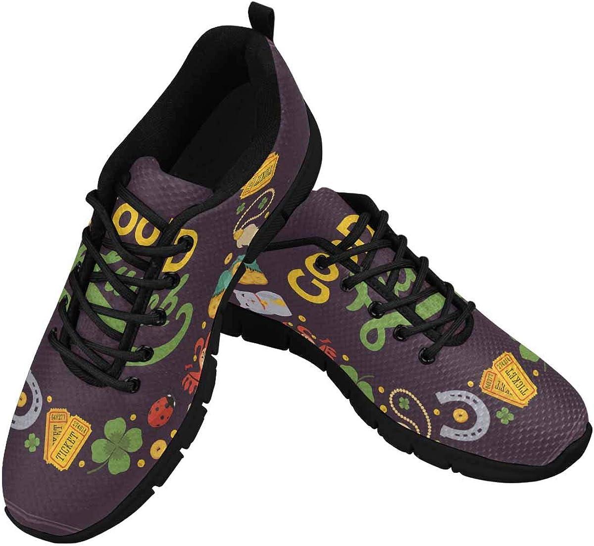 INTERESTPRINT Lucky Clover Good Luck Women's Walking Shoes Lightweight Casual Running Sneakers
