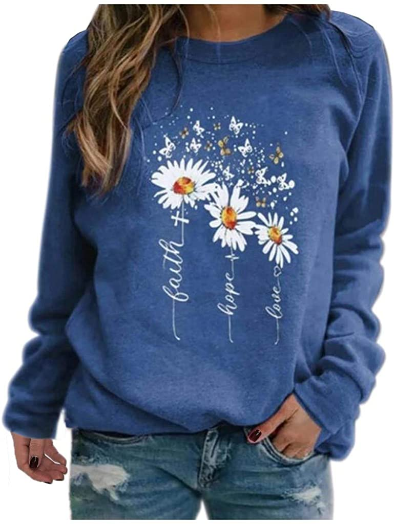 Sweatshirts for Women Crewneck Vintage, Women'S Casual Long Sleeve Daisy Pullover Tops Graphic Tunic Shirts Blouse