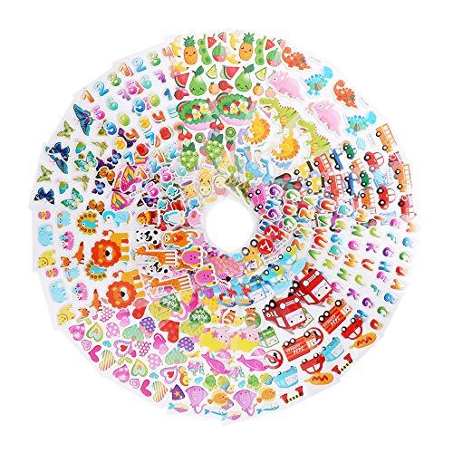 QWEF 3D Aufkleber für Kinder,Stickers Belohnung Aufkleber inschließlich Verschiedene Buchstab en Tier Obst Zahlen Fische Dinosaurier (20 Bogen)