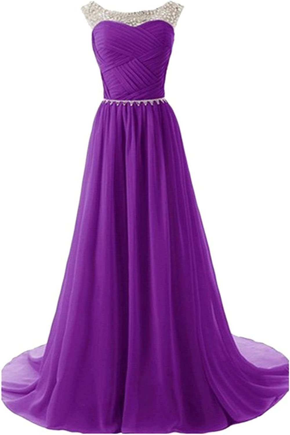 Tobyak Women's Long Party Prom Strapless Beaded Empire Line Evening Gown Dress Fashion Style