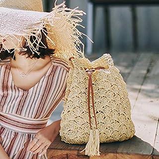 Funien المرأة الشاطئ الحياكة سترو حقيبة يد الصلبة سلسلة مصغرة دلو حقيبة الصيف عارضة عطلة كروسبودي حقيبة