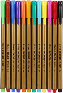 Art Fineliner Color Pens Set - 0.4mm Fine Point Drawing Marker Pens, 12-Count Brilliant Assorted Colors for Coloring, Drawing, Scrapbooking & Detailing - Washable Colors & Non-Toxic Ink