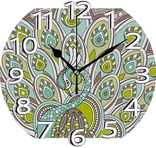 AZHOULIULIU Co.,ltd Reloj Silencioso Pluma de Pavo Real