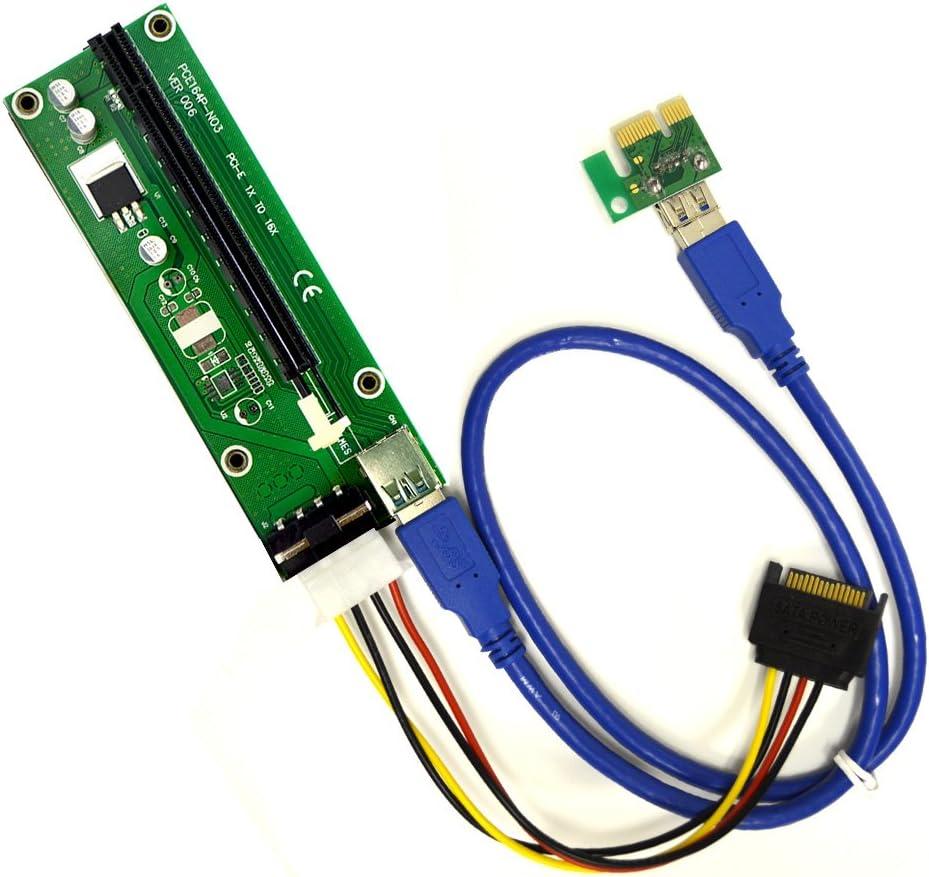 PCIe 4-Pin MOLEX PCI-E 16x to 1x Max 67% OFF Oklahoma City Mall 6 Riser Card Adapter Powered w
