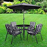Lewis's Grey And White Windsor Premium 6 Piece Padded Outdoor Garden Dining Set | Patio And Decking Bistro Furniture, Table Chairs And Parasol