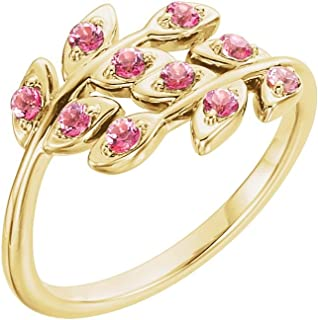 14K Yellow Gold Baby Pink Topaz Leaf Design Ring Size 7
