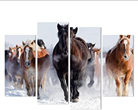 Canvas Painting 4 Pcs High Quality Art Pictures Running Horse Large Hd Modern Home Wall Decor Abstract Canvas Print Oil Painting,20x40x2 20x60x2