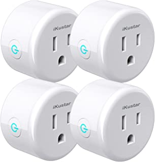 iKustar Wi-Fi Smart Plug Socket: Ultra-Compact Size Outlet Compatible With Amazon Alexa Google Home| Wireless Remote Control Your Devices| Energy Saving Smart Socket With Timer (WP5-White-4)