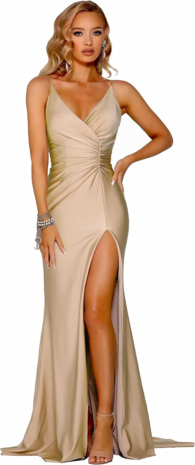 V Neck Mermaid Prom Dresses Long Formal Evening Dresses Party Gowns for Women with Slit