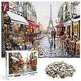 O-Kinee Puzzle 1000 Piezas, Rompecabezas de la Calle de París, DIY Rompecabezas, Paisaje Rompecabezas Arte, Intelectual Educativo Divertido Juego Familiar Puzzle, Juguete Regalo para Niños Adultos