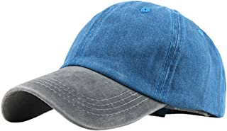 Unisex Fashion Washed Baseball Hats Color Block Outdoor Casual Sun Hats Trucker Caps Dad Hats by PERSOLE
