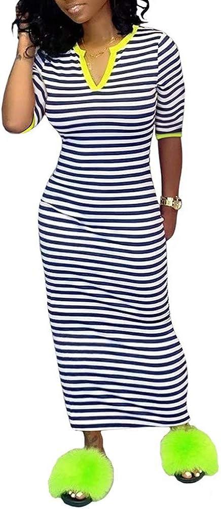 Women Striped Print Dresses Sexy Stretchy V Neck Half Sleeve Bodycon Midi Long Dress Club Party Sundress