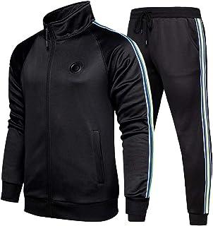 بدلة ملابس رياضية كاجوال للرجال من لانفيس باكمام طويلة وسحاب كامل لرياضة الركض والهرولة جاكيت وبنطال