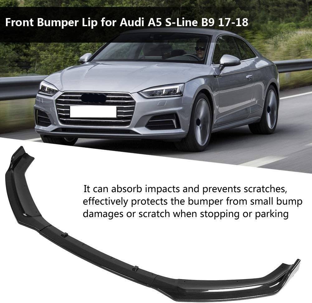 KIMISS 3Pcs Car Bumper Lip Front Bumper Diffuser Canard Lip Splitter Body Shovels Bumper Lip Spoiler for A5 S Line B9 17-18 Black Glossy