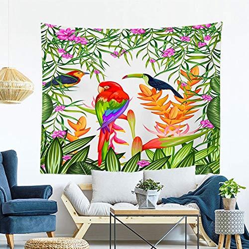 JXWR Tapiz de Estilo nórdico Lindo patrón de Planta Verde de Dibujos Animados Colgante de Pared decoración 150x130cm