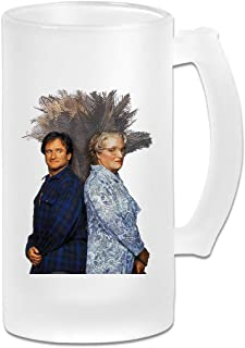 Printed 16oz Frosted Glass Beer Stein Mug Cup - Robin Williams Mrs Doubtfire Funny Poster - Graphic Mug