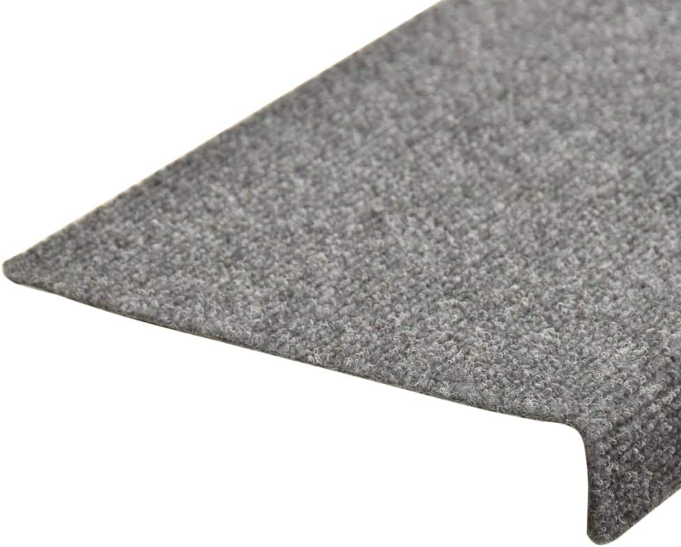 Goliraya Self-adhesive Stair Mats Stair Treads Stair Carpet 15 pcs Needle Punch 65x25 cm Light Grey