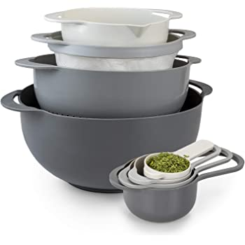 Cook With Color 8 Piece Nesting Bowls with Measuring Cups Colander and Sifter Set | Includes 2 Mixing Bowls, 1 Colander, 1 Sifter and 4 Measuring Cups, Gray