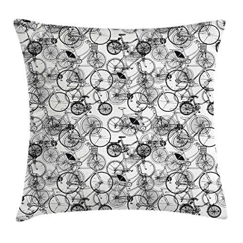 Sketchy Throw Pillow Cojín, Vintage Retro Bicicleta Bicicleta Dibujado A Mano Vector Abstracto Diseño Imagen Obra De Arte, 45 X 45 Cm, Colores del Arco Iris