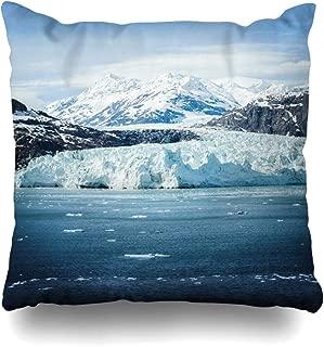 Ahawoso Throw Pillow Cover Square 18x18 View Blue Alaska Glacier Bay Nature Change Cruise Cruising Frozen Global Design Rock Zippered Cushion Case Home Decor Pillowcase