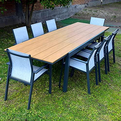 Scaramuzza Modo Set da Pranzo 6 Posti Tavolo Allungabile 200-300 cm Top Polywood Teak + 8 Poltrone Alluminio Antracite Modello Elias