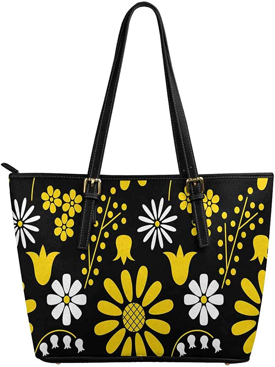 INTERESTPRINT White and Yellow Flowers Women Totes Top Handle HandBags PU Leather Purse