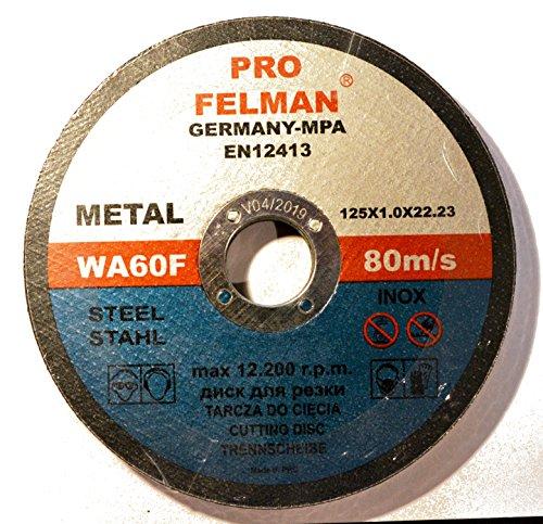 Lot de 10 disques à tronçonner pour acier 125 x 1,0 mm T41 Felman Pro WA60F INOX EN12413