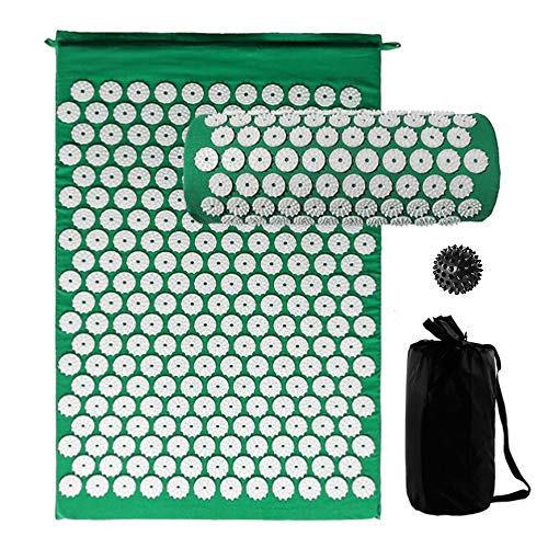 Great Deal! WooDlan Acupressure Mat and Pillow Set with Spiky Massage Ball and Carry Bag for Back Ne...