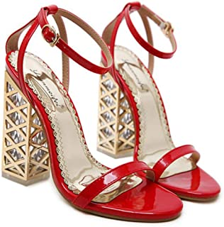 GLJJQMY Women's High Heels Pu Spring and Summer Crystal Sandals Comfortable Thickening Shoes Black Red 34-40 Yards Women's Sandals (Color : Red, Size : 37)
