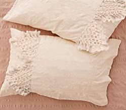 Flber Tufted Tassel Sham Set Lattice Cotton Pillow Covers,19.7in x35.5in,Set of 2