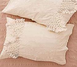 Flber Tufted Tassel Sham Set Lattice Cotton Pillow Covers,19.7in x35.5in,Set of 2