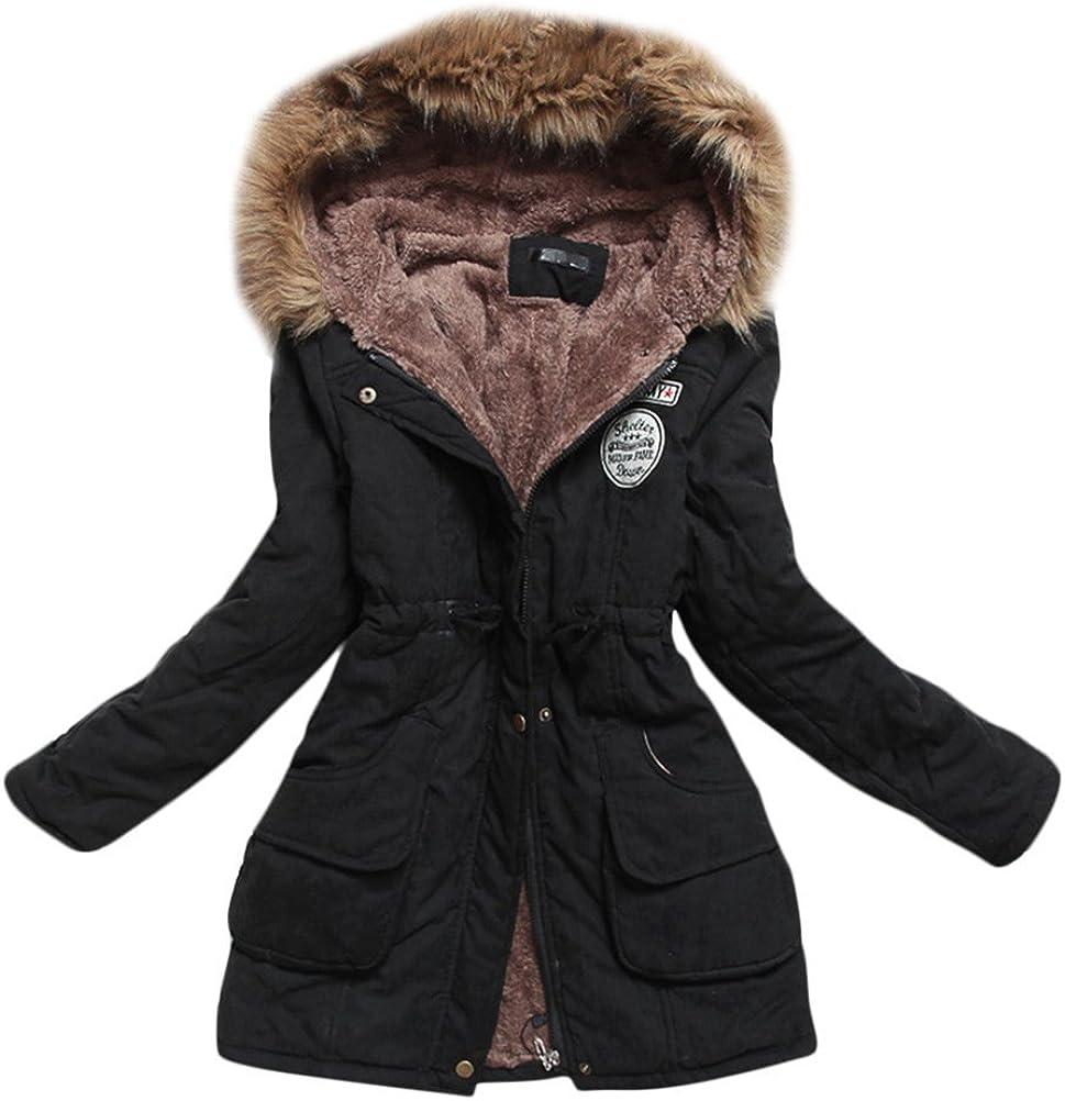 SATUKI Women's Winter Thicken Mid-Length Lamb Wool Faux Fur Hooded Padded Coats Jackets