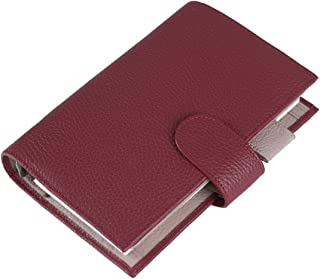 Moterm Leather Personal Planner Binder - Personal Size Milled Pattern Organiser Planner, 6 Rings Binder Planner with Lined Refills, Big Pocket and Flyleaf (Personal Size, Red-Beige)