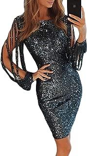 Womens Elegant Sequin Tassel Sleeve Bodycon Cocktail Party Midi Dress