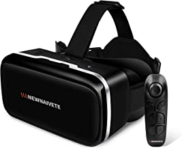 """Newnaivete VR Headset with Remote Controller, HD Virtual Reality Headset Compatible with 4.7""""-6.53"""" iPhone & Android Phone, Eye Protected Adjustable 3D VR Glasses Goggles Gift for Kids and Adults"""