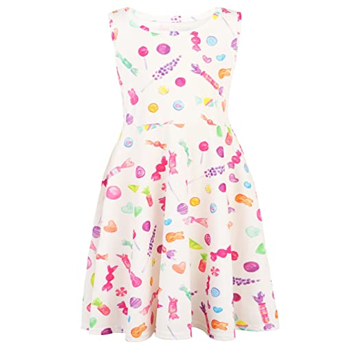 Funnycokid Girls Sleeveless Casual Dress Kids Holiday Party Printing Dresses  4-13 Years 3c6e39bd0