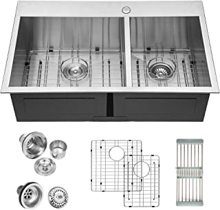 Best kitchen sink stainless steel drop in double bowl Reviews