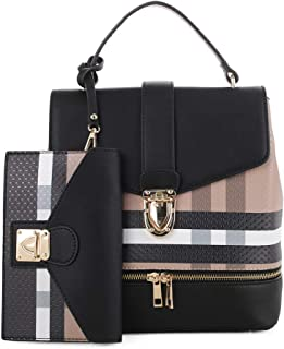 Fashion Casual Faux Leather Shoulder Bag Mini Backpack School Bag for Women 2pc