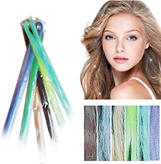 "28"" Hair Tinsel 300 Strands Sparkling & Shiny Hair Tinsel Extensions Colored Party Highlights Glitter Extensions Hair Streak Bling Hairpieces-300s spiral rainbowblue"