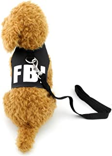 SELMAI FBI Dog Vest Harness and Leash Set for Small Pet Puppy Doggies Boys Cats Leads No Pull Walking Running Sport Training Outdoor Collar Breathable Mesh Pad Dachshund Yorkie Jackets for Summer