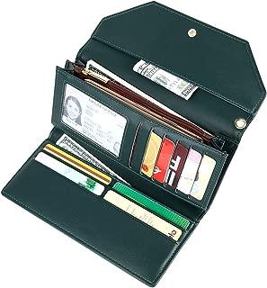 Women's Long Trifold Credit Card Holder Envelope Wristlet Clutch Wallet Purse, Dark Green